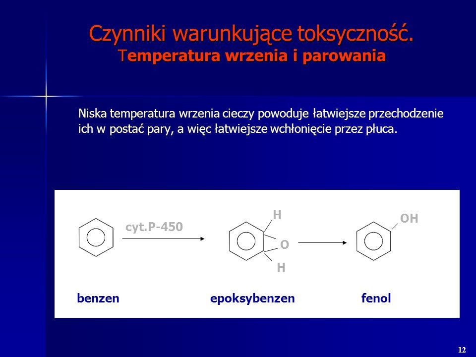 Czynniki warunkujące toksyczność. Temperatura wrzenia i parowania Niska temperatura wrzenia cieczy powoduje łatwiejsze przechodzenie ich w postać pary