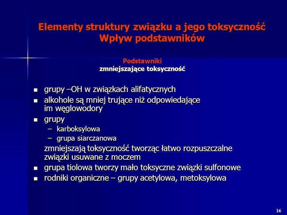 Elementy struktury związku a jego toksyczność Wpływ podstawników grupy –OH w związkach alifatycznych grupy –OH w związkach alifatycznych alkohole są m