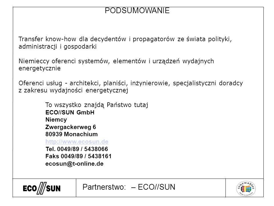 Partnerstwo: – ECO//SUN PODSUMOWANIE Transfer know-how dla decydentów i propagatorów ze świata polityki, administracji i gospodarki Niemieccy oferenci systemów, elementów i urządzeń wydajnych energetycznie Oferenci usług - architekci, planiści, inżynierowie, specjalistyczni doradcy z zakresu wydajności energetycznej To wszystko znajdą Państwo tutaj ECO//SUN GmbH Niemcy Zwergackerweg 6 80939 Monachium http://www.ecosun.de Tel.