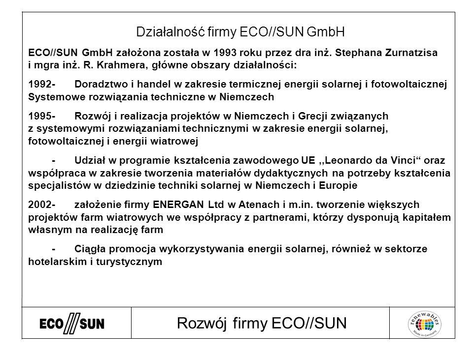 Rozwój firmy ECO//SUN Działalność firmy ECO//SUN GmbH ECO//SUN GmbH założona została w 1993 roku przez dra inż.