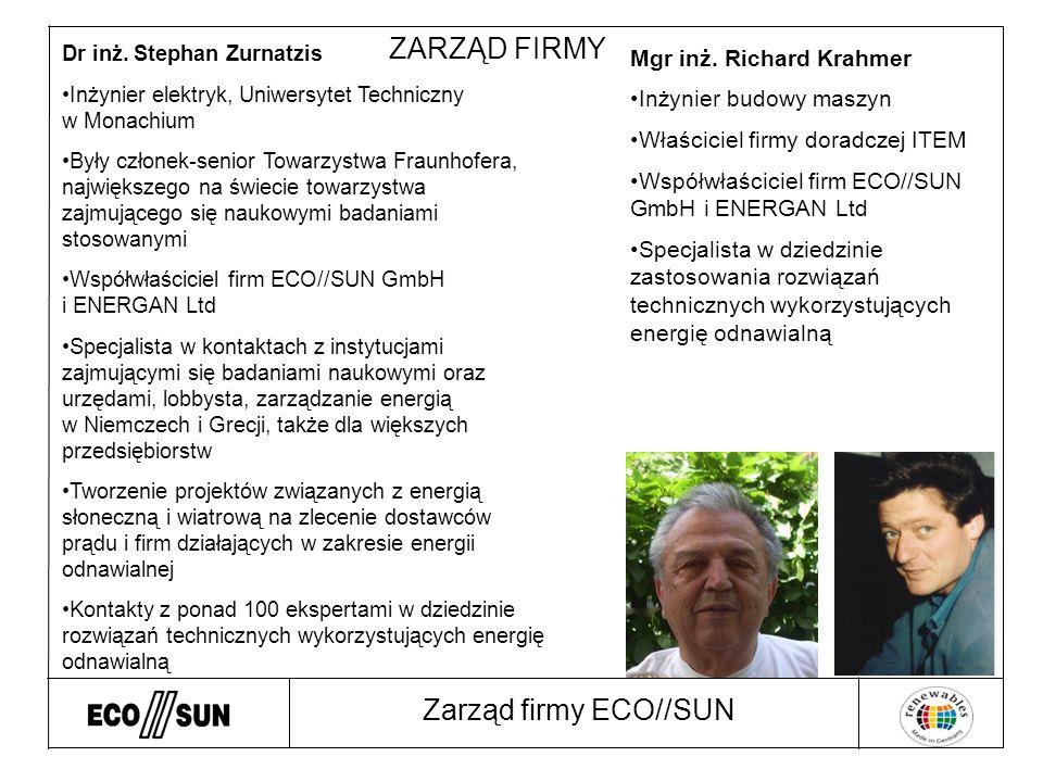 Zarząd firmy ECO//SUN ZARZĄD FIRMY Dr inż.
