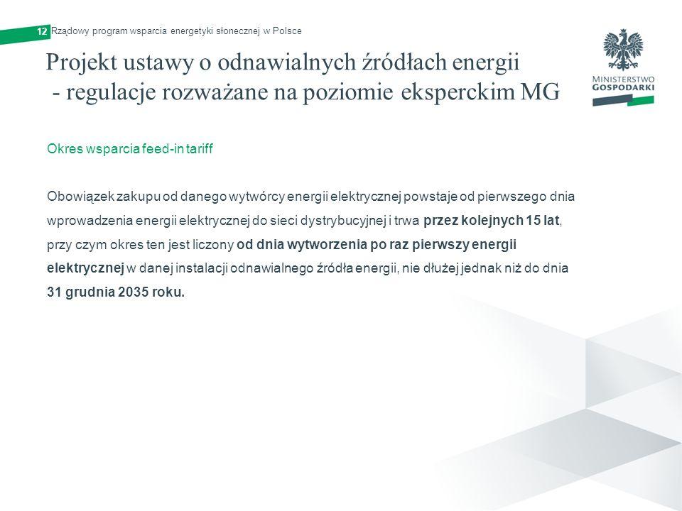 Projekt ustawy o odnawialnych źródłach energii - regulacje rozważane na poziomie eksperckim MG 12 Okres wsparcia feed-in tariff Obowiązek zakupu od da