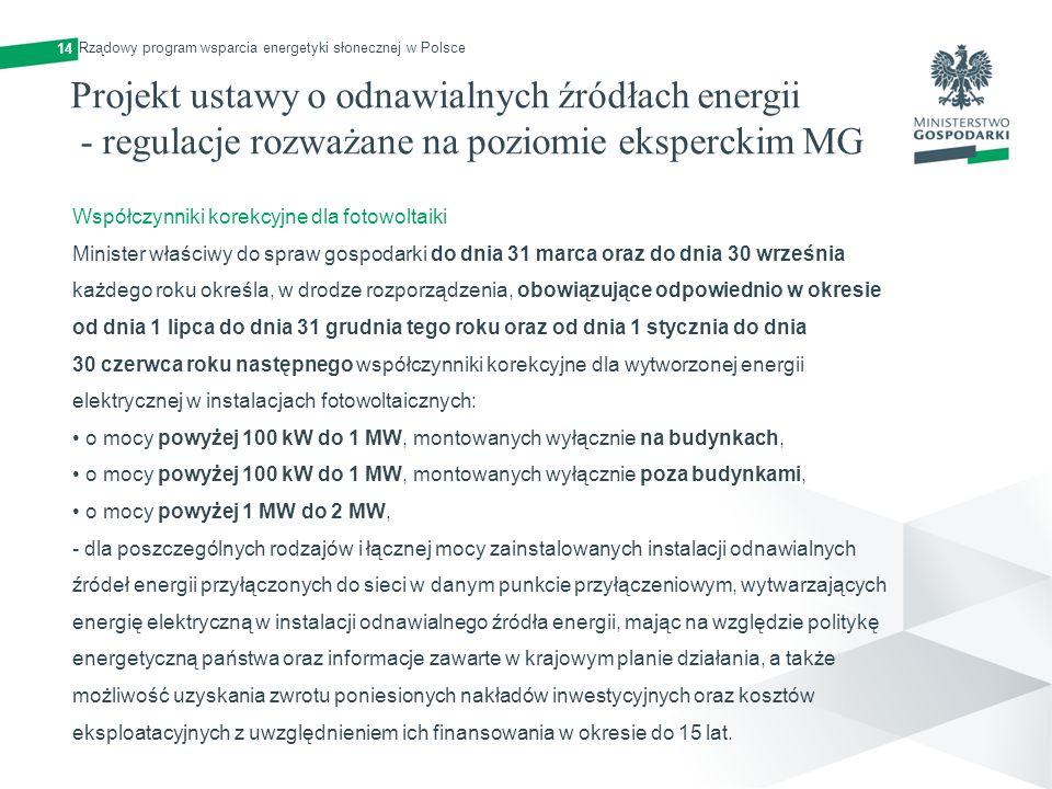 14 Rządowy program wsparcia energetyki słonecznej w Polsce Projekt ustawy o odnawialnych źródłach energii - regulacje rozważane na poziomie eksperckim