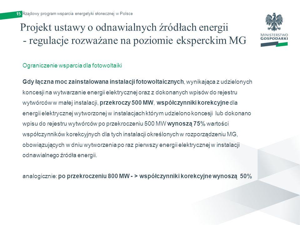 15 Ograniczenie wsparcia dla fotowoltaiki Gdy łączna moc zainstalowana instalacji fotowoltaicznych, wynikająca z udzielonych koncesji na wytwarzanie e