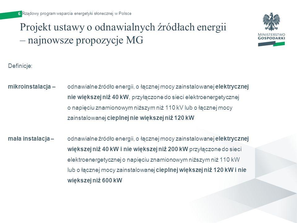 Projekt ustawy o odnawialnych źródłach energii – najnowsze propozycje MG Definicje: mikroinstalacja – odnawialne źródło energii, o łącznej mocy zainst