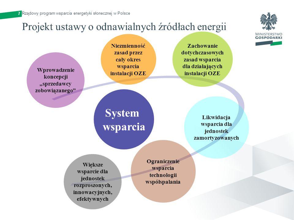 7 System wsparcia Wprowadzenie koncepcji sprzedawcy zobowiązanego Niezmienność zasad przez cały okres wsparcia instalacji OZE Zachowanie dotychczasowy