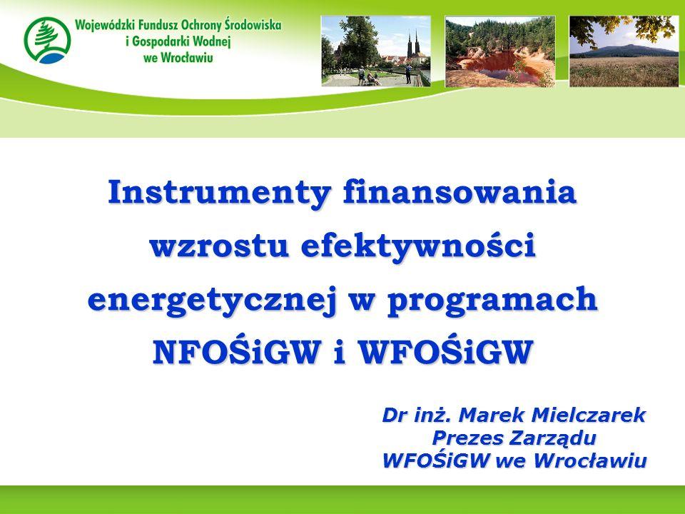 Instrumenty finansowania wzrostu efektywności energetycznej w programach NFOŚiGW i WFOŚiGW Dr inż.