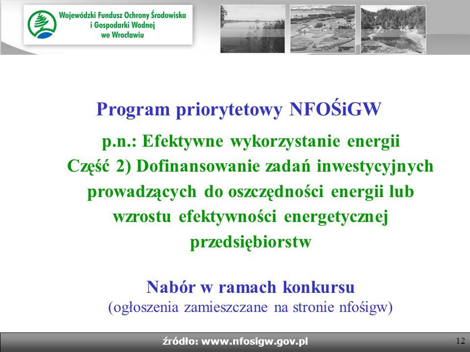 11 źródło: www.nfosigw.gov.pl 1.Beneficjenci: 1.Beneficjenci: - przedsiębiorstwo, którego minimalna wielkość przeciętnego zużycia energii końcowej, w