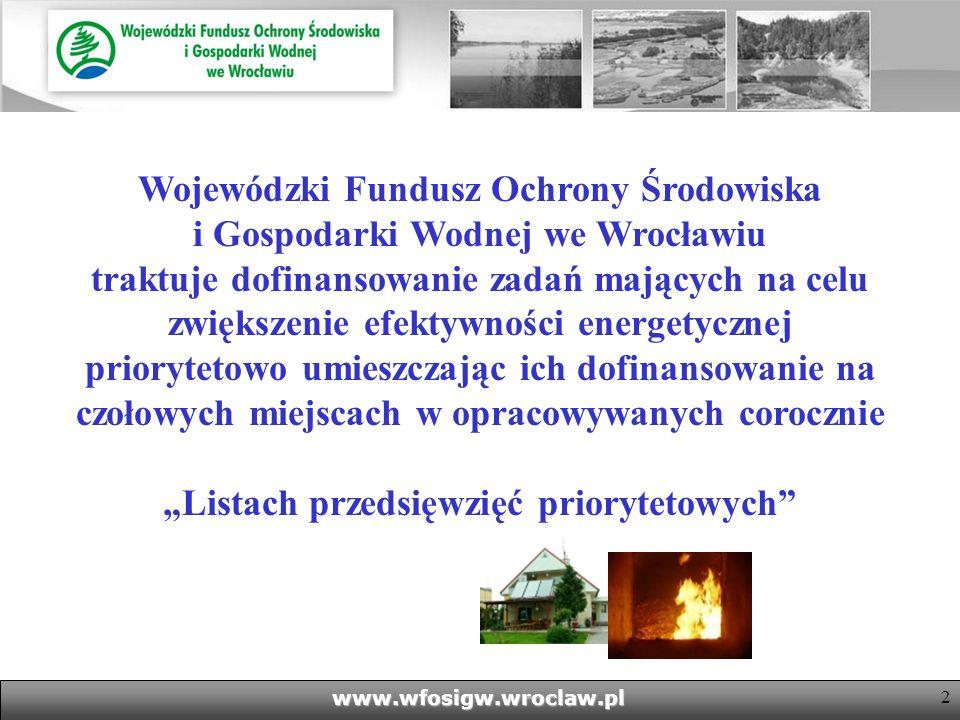 2www.wfosigw.wroclaw.pl Wojewódzki Fundusz Ochrony Środowiska i Gospodarki Wodnej we Wrocławiu traktuje dofinansowanie zadań mających na celu zwiększenie efektywności energetycznej priorytetowo umieszczając ich dofinansowanie na czołowych miejscach w opracowywanych corocznie Listach przedsięwzięć priorytetowych