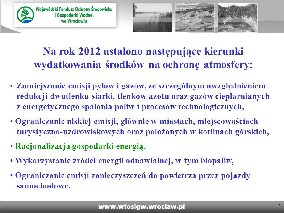 3www.wfosigw.wroclaw.pl Na rok 2012 ustalono następujące kierunki wydatkowania środków na ochronę atmosfery: Z mniejszanie emisji pyłów i gazów, ze szczególnym uwzględnieniem redukcji dwutlenku siarki, tlenków azotu oraz gazów cieplarnianych z energetycznego spalania paliw i procesów technologicznych, Ograniczanie niskiej emisji, głównie w miastach, miejscowościach turystyczno-uzdrowiskowych oraz położonych w kotlinach górskich, Racjonalizacja gospodarki energią, Wykorzystanie źródeł energii odnawialnej, w tym biopaliw, Ograniczanie emisji zanieczyszczeń do powietrza przez pojazdy samochodowe.
