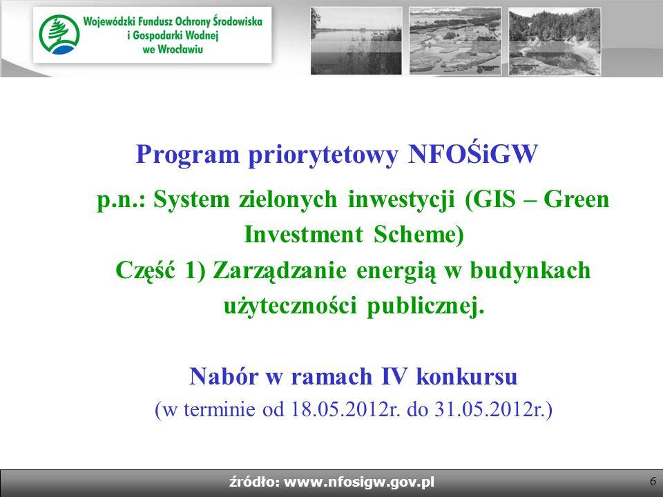6 źródło: www.nfosigw.gov.pl Program priorytetowy NFOŚiGW p.n.: System zielonych inwestycji (GIS – Green Investment Scheme) Część 1) Zarządzanie energią w budynkach użyteczności publicznej.