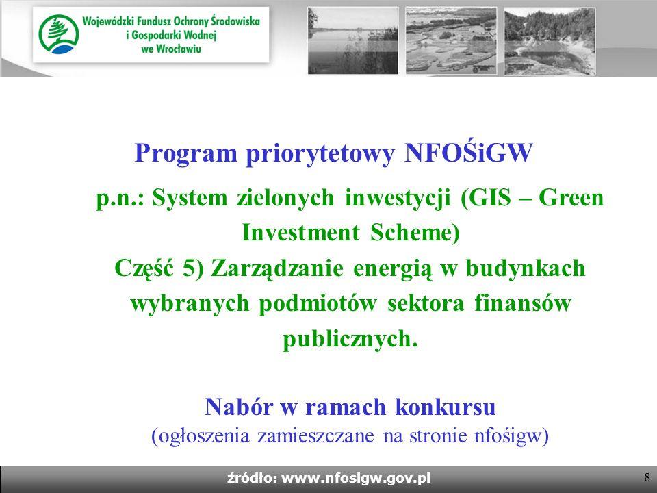 8 źródło: www.nfosigw.gov.pl Program priorytetowy NFOŚiGW p.n.: System zielonych inwestycji (GIS – Green Investment Scheme) Część 5) Zarządzanie energią w budynkach wybranych podmiotów sektora finansów publicznych.