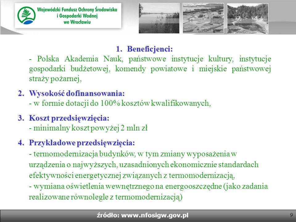9 źródło: www.nfosigw.gov.pl 1.Beneficjenci: 1.Beneficjenci: - Polska Akademia Nauk, państwowe instytucje kultury, instytucje gospodarki budżetowej, komendy powiatowe i miejskie państwowej straży pożarnej, 2.Wysokość dofinansowania: 2.Wysokość dofinansowania: - w formie dotacji do 100% kosztów kwalifikowanych, 3.Koszt przedsięwzięcia: 3.Koszt przedsięwzięcia: - minimalny koszt powyżej 2 mln zł 4.Przykładowe przedsięwzięcia: 4.Przykładowe przedsięwzięcia: - termomodernizacja budynków, w tym zmiany wyposażenia w urządzenia o najwyższych, uzasadnionych ekonomicznie standardach efektywności energetycznej związanych z termomodernizacją, - wymiana oświetlenia wewnętrznego na energooszczędne (jako zadania realizowane równolegle z termomodernizacją)