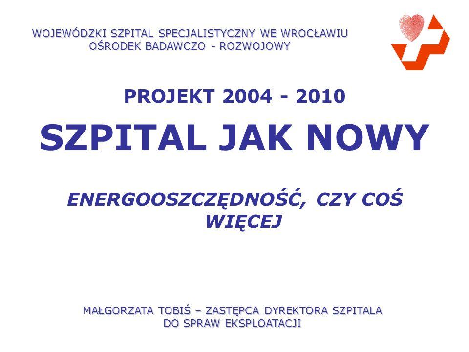 PROJEKT 2004 - 2010 SZPITAL JAK NOWY ENERGOOSZCZĘDNOŚĆ, CZY COŚ WIĘCEJ WOJEWÓDZKI SZPITAL SPECJALISTYCZNY WE WROCŁAWIU OŚRODEK BADAWCZO - ROZWOJOWY MAŁGORZATA TOBIŚ – ZASTĘPCA DYREKTORA SZPITALA DO SPRAW EKSPLOATACJI