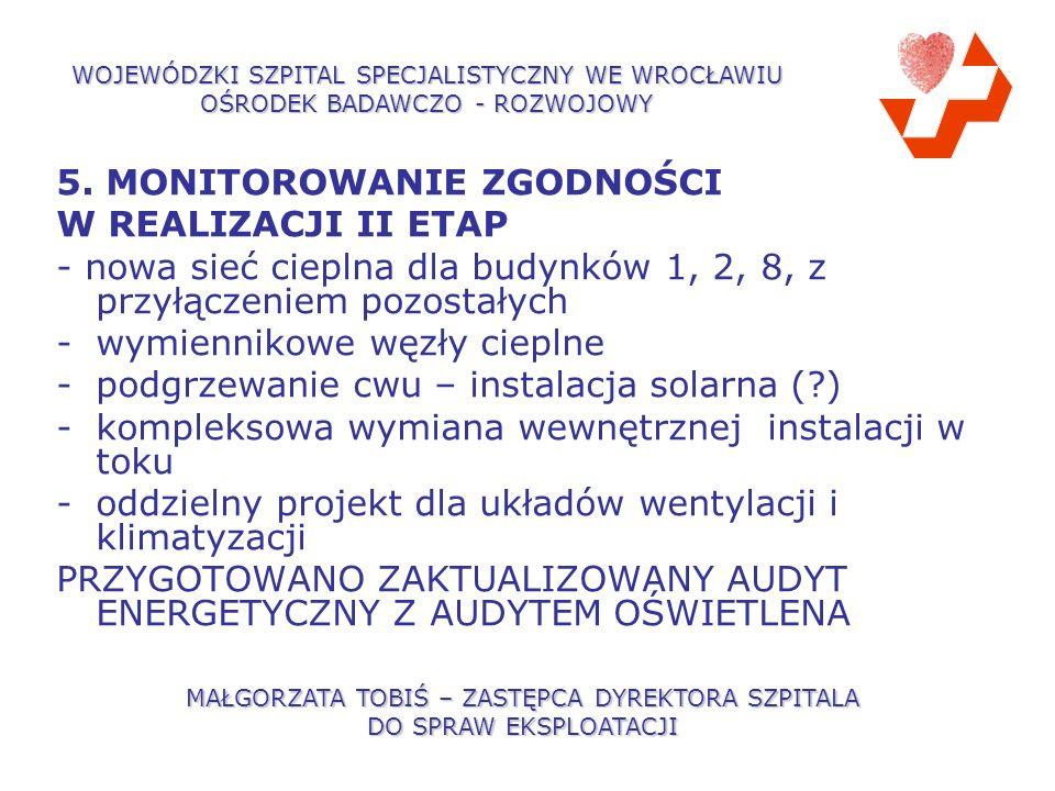 5. MONITOROWANIE ZGODNOŚCI W REALIZACJI II ETAP - nowa sieć cieplna dla budynków 1, 2, 8, z przyłączeniem pozostałych -wymiennikowe węzły cieplne -pod