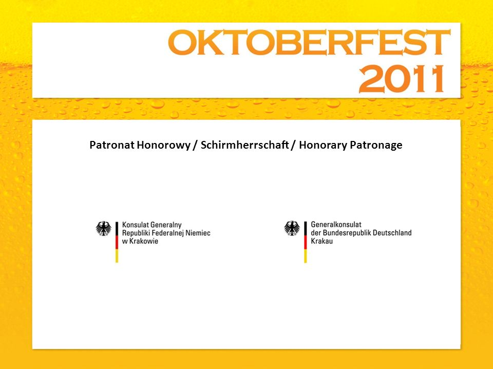 Patronat Honorowy / Schirmherrschaft / Honorary Patronage