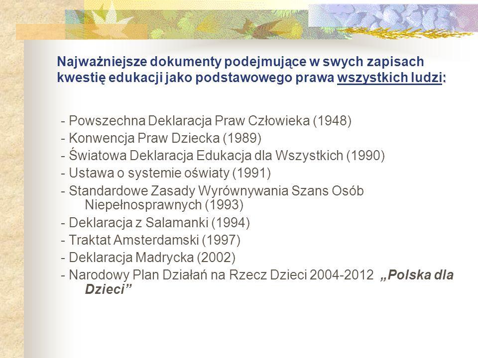 : Najważniejsze dokumenty podejmujące w swych zapisach kwestię edukacji jako podstawowego prawa wszystkich ludzi: - Powszechna Deklaracja Praw Człowie