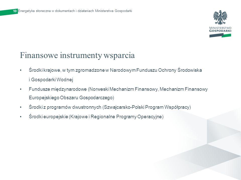 Finansowe instrumenty wsparcia Środki krajowe, w tym zgromadzone w Narodowym Funduszu Ochrony Środowiska i Gospodarki Wodnej Fundusze międzynarodowe (