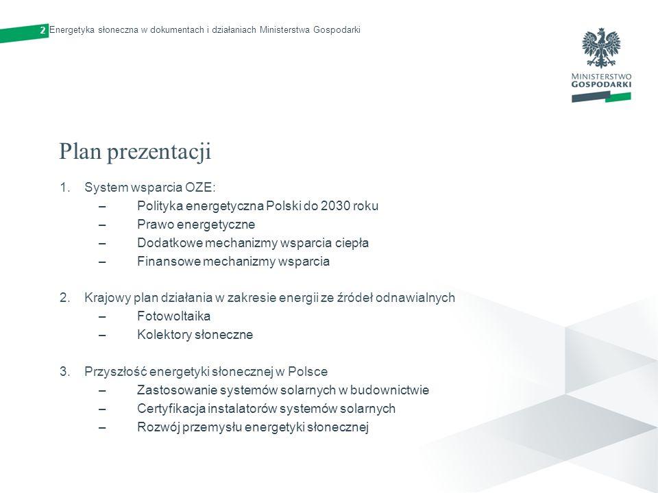 Plan prezentacji 1.System wsparcia OZE: –Polityka energetyczna Polski do 2030 roku –Prawo energetyczne –Dodatkowe mechanizmy wsparcia ciepła –Finansow