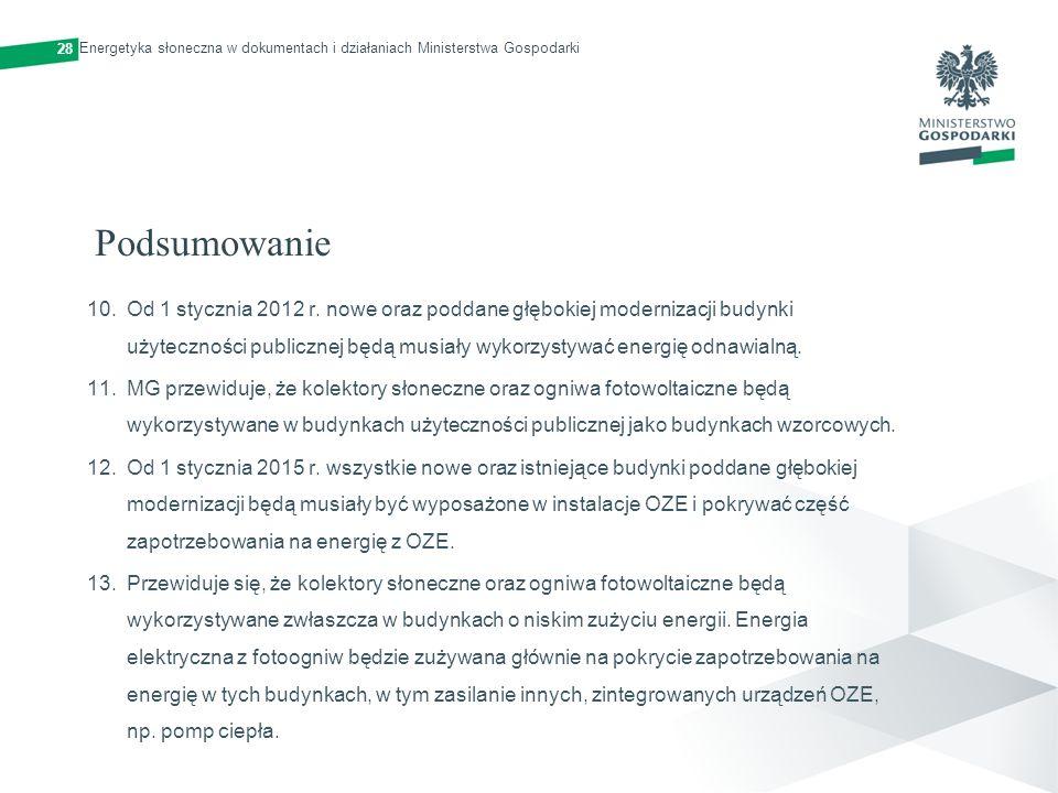 Podsumowanie 10.Od 1 stycznia 2012 r. nowe oraz poddane głębokiej modernizacji budynki użyteczności publicznej będą musiały wykorzystywać energię odna