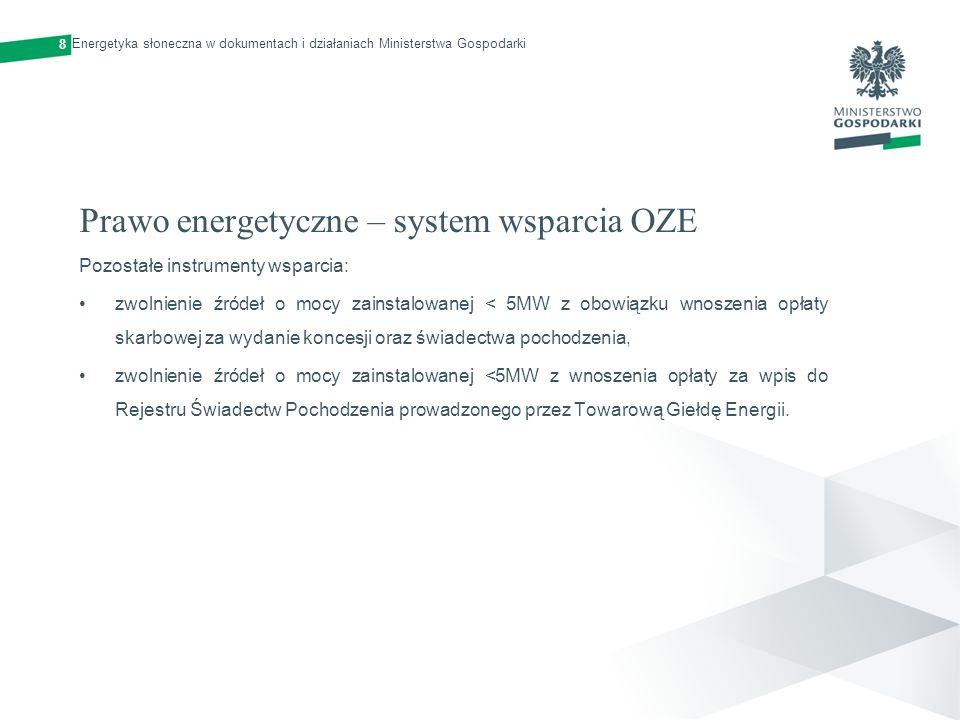 Prawo energetyczne – system wsparcia OZE Pozostałe instrumenty wsparcia: zwolnienie źródeł o mocy zainstalowanej < 5MW z obowiązku wnoszenia opłaty sk