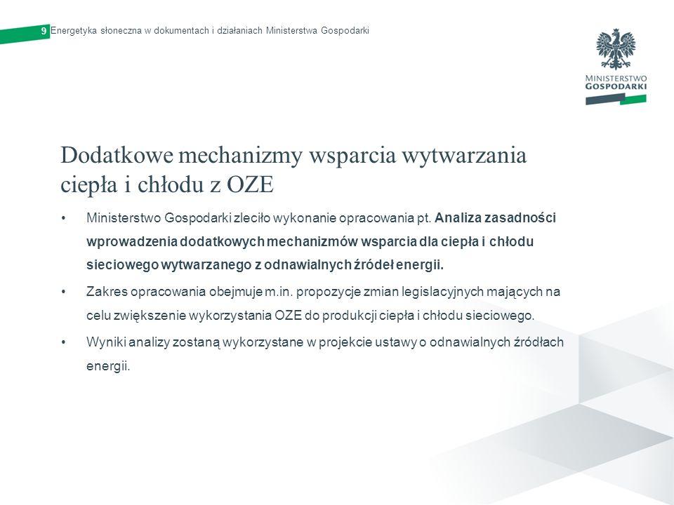 Finansowe instrumenty wsparcia Środki krajowe, w tym zgromadzone w Narodowym Funduszu Ochrony Środowiska i Gospodarki Wodnej Fundusze międzynarodowe (Norweski Mechanizm Finansowy, Mechanizm Finansowy Europejskiego Obszaru Gospodarczego) Środki z programów dwustronnych (Szwajcarsko-Polski Program Współpracy) Środki europejskie (Krajowe i Regionalne Programy Operacyjne) 10 Energetyka słoneczna w dokumentach i działaniach Ministerstwa Gospodarki