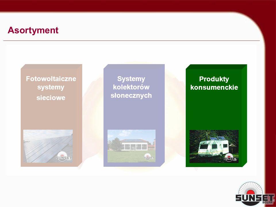 SOLAR CONSUMER PRODUCTS Asortyment Fotowoltaiczne systemy sieciowe Systemy kolektorów słonecznych Produkty konsumenckie