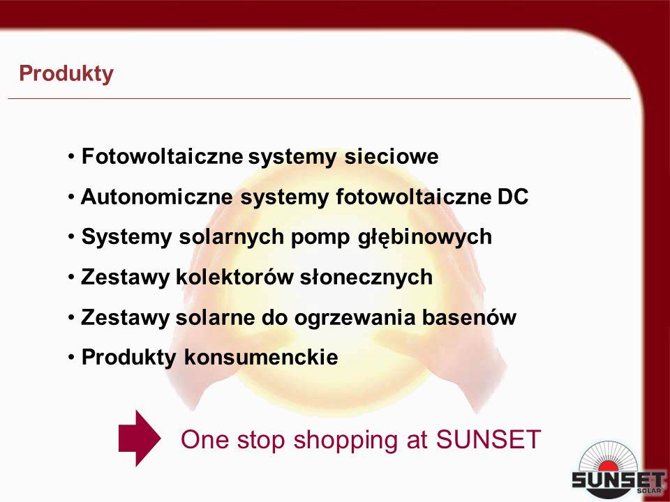 Fotowoltaiczne systemy sieciowe Autonomiczne systemy fotowoltaiczne DC Systemy solarnych pomp głębinowych Zestawy kolektorów słonecznych Zestawy solar