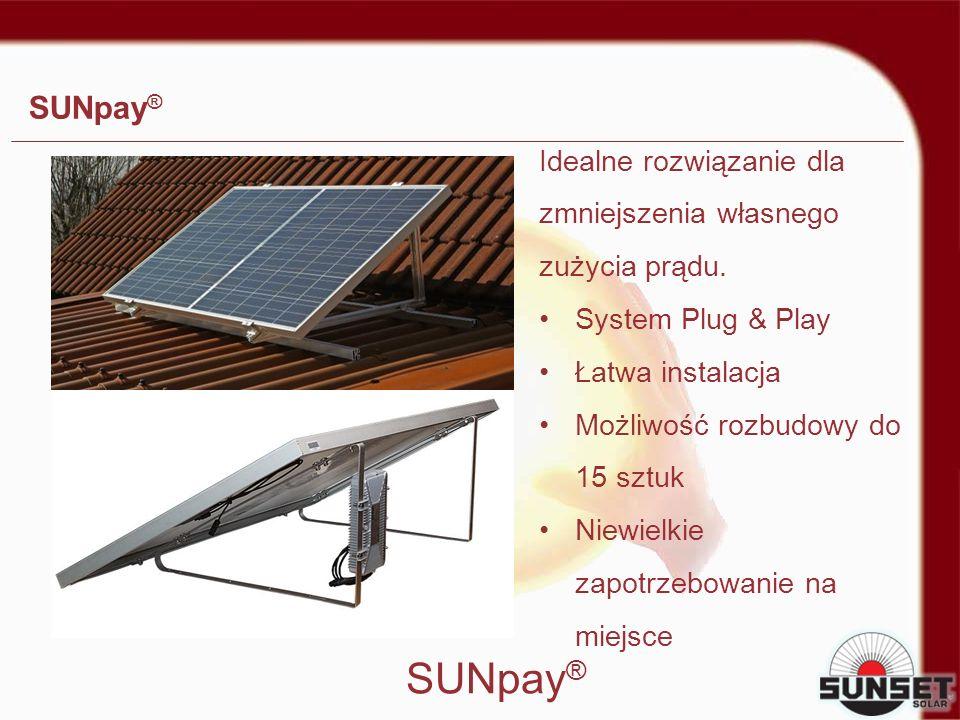SUNpay ® Idealne rozwiązanie dla zmniejszenia własnego zużycia prądu. System Plug & Play Łatwa instalacja Możliwość rozbudowy do 15 sztuk Niewielkie z