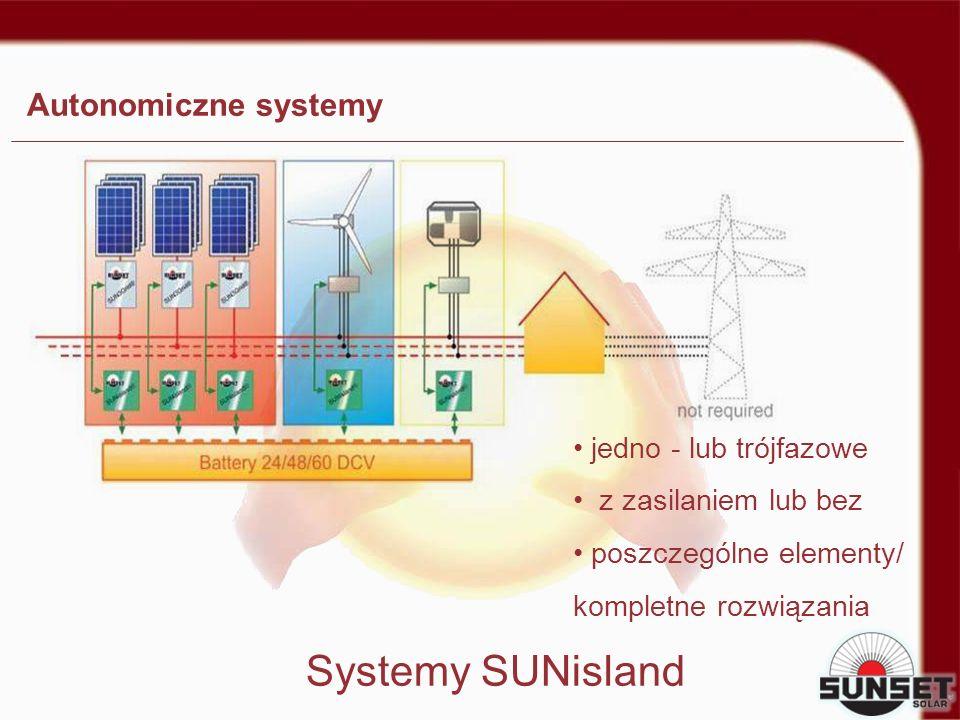jedno - lub trójfazowe z zasilaniem lub bez poszczególne elementy/ kompletne rozwiązania Systemy SUNisland Autonomiczne systemy