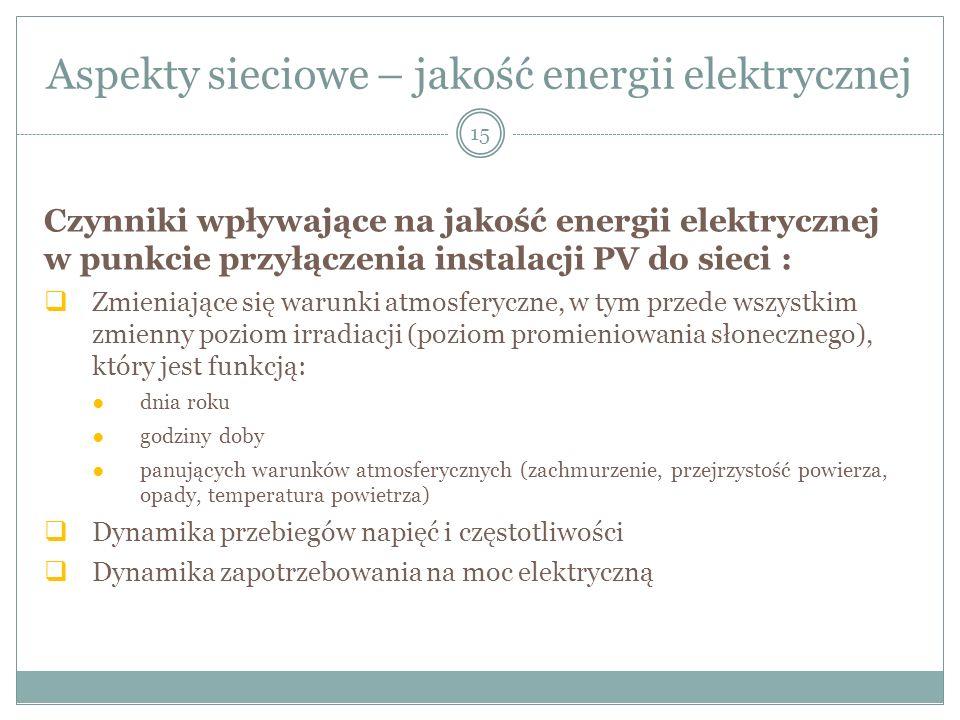 Aspekty sieciowe – jakość energii elektrycznej 15 Czynniki wpływające na jakość energii elektrycznej w punkcie przyłączenia instalacji PV do sieci : Z