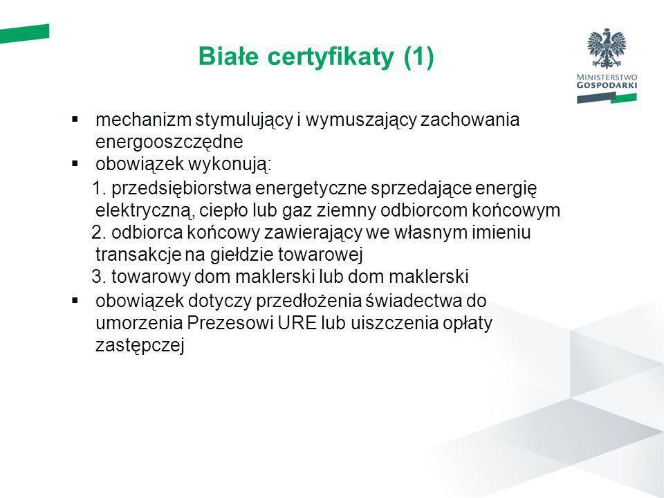 Białe certyfikaty (1) mechanizm stymulujący i wymuszający zachowania energooszczędne obowiązek wykonują: 1. przedsiębiorstwa energetyczne sprzedające