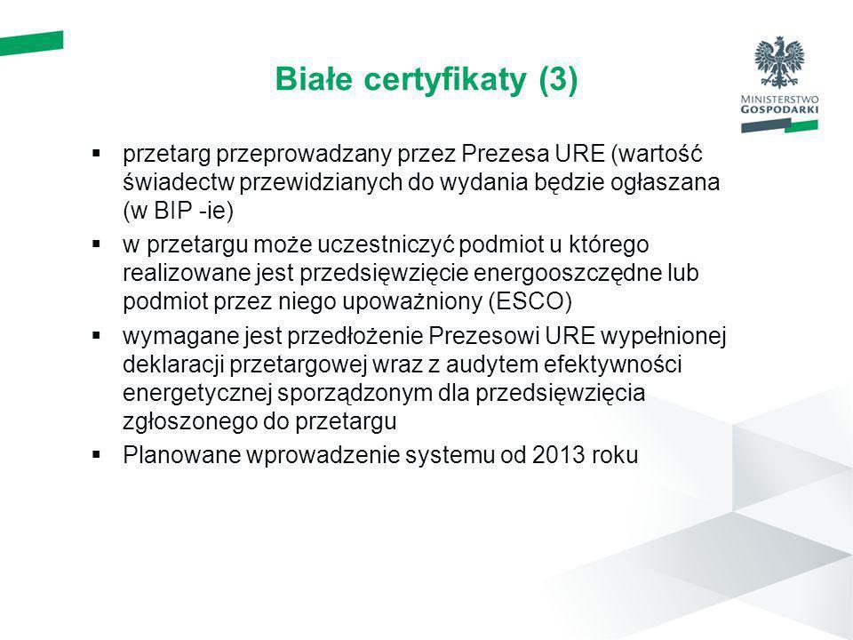 Białe certyfikaty (3) przetarg przeprowadzany przez Prezesa URE (wartość świadectw przewidzianych do wydania będzie ogłaszana (w BIP -ie) w przetargu