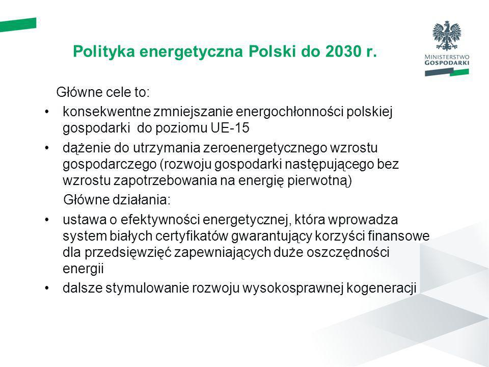 Polityka energetyczna Polski do 2030 r. Główne cele to: konsekwentne zmniejszanie energochłonności polskiej gospodarki do poziomu UE-15 dążenie do utr