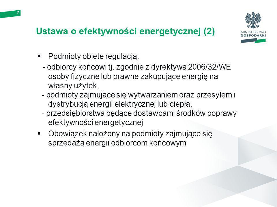 7 Ustawa o efektywności energetycznej (2) Podmioty objęte regulacją: - odbiorcy końcowi tj. zgodnie z dyrektywą 2006/32/WE osoby fizyczne lub prawne z