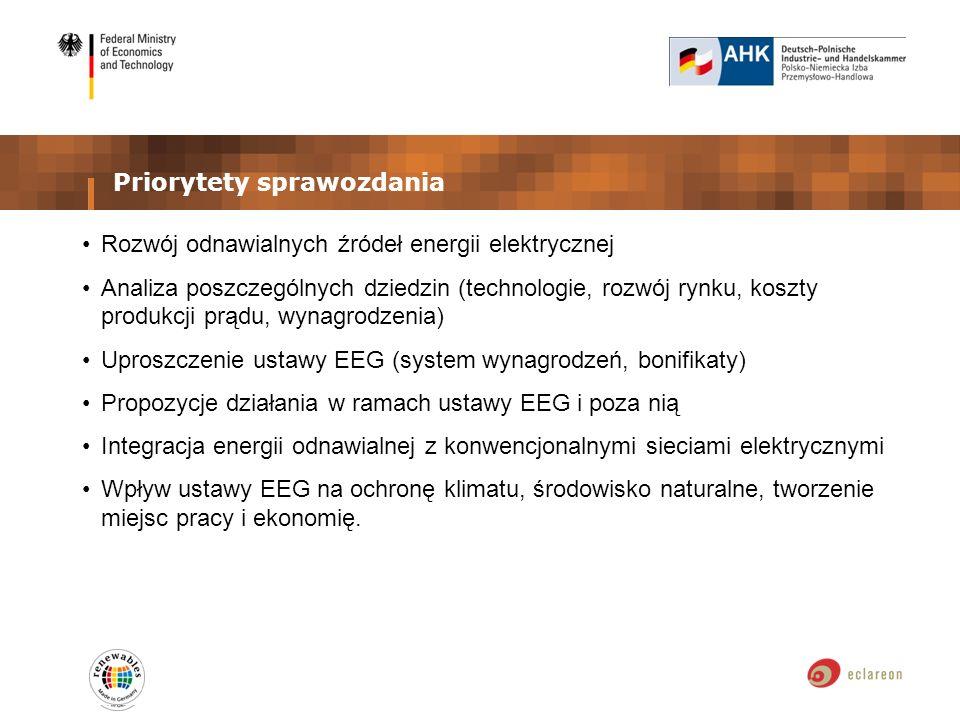 Priorytety sprawozdania Rozwój odnawialnych źródeł energii elektrycznej Analiza poszczególnych dziedzin (technologie, rozwój rynku, koszty produkcji prądu, wynagrodzenia) Uproszczenie ustawy EEG (system wynagrodzeń, bonifikaty) Propozycje działania w ramach ustawy EEG i poza nią Integracja energii odnawialnej z konwencjonalnymi sieciami elektrycznymi Wpływ ustawy EEG na ochronę klimatu, środowisko naturalne, tworzenie miejsc pracy i ekonomię.