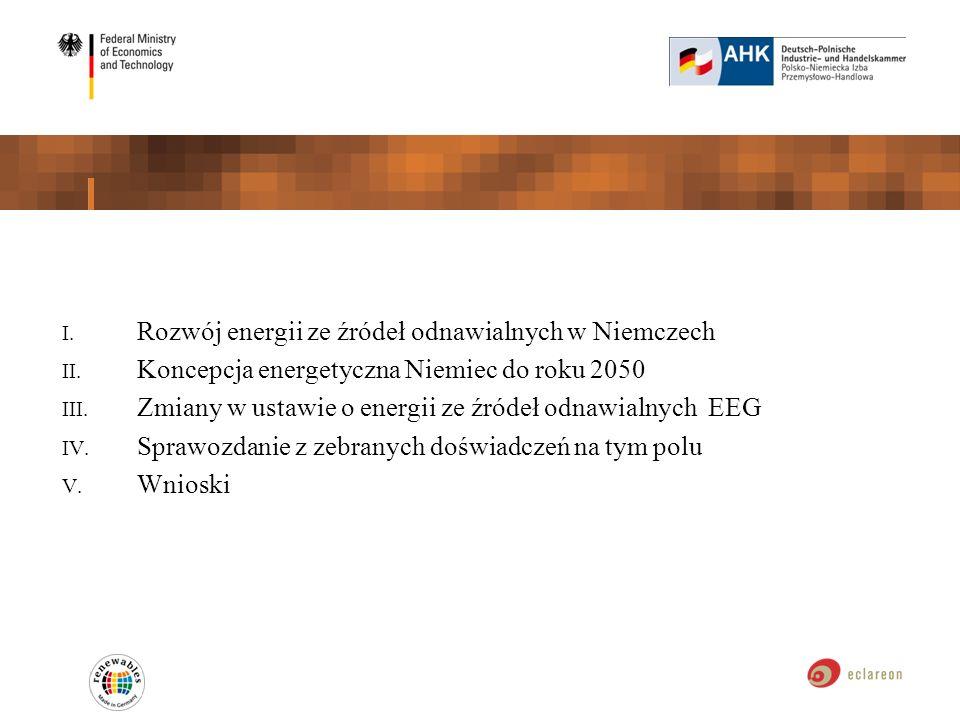 I. Rozwój energii ze źródeł odnawialnych w Niemczech II. Koncepcja energetyczna Niemiec do roku 2050 III. Zmiany w ustawie o energii ze źródeł odnawia
