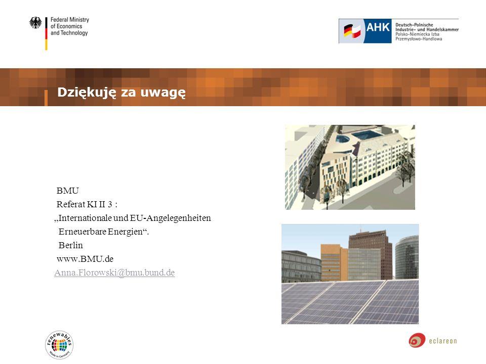 Dziękuję za uwagę BMU Referat KI II 3 : Internationale und EU-Angelegenheiten Erneuerbare Energien. Berlin www.BMU.de Anna.Florowski@bmu.bund.de