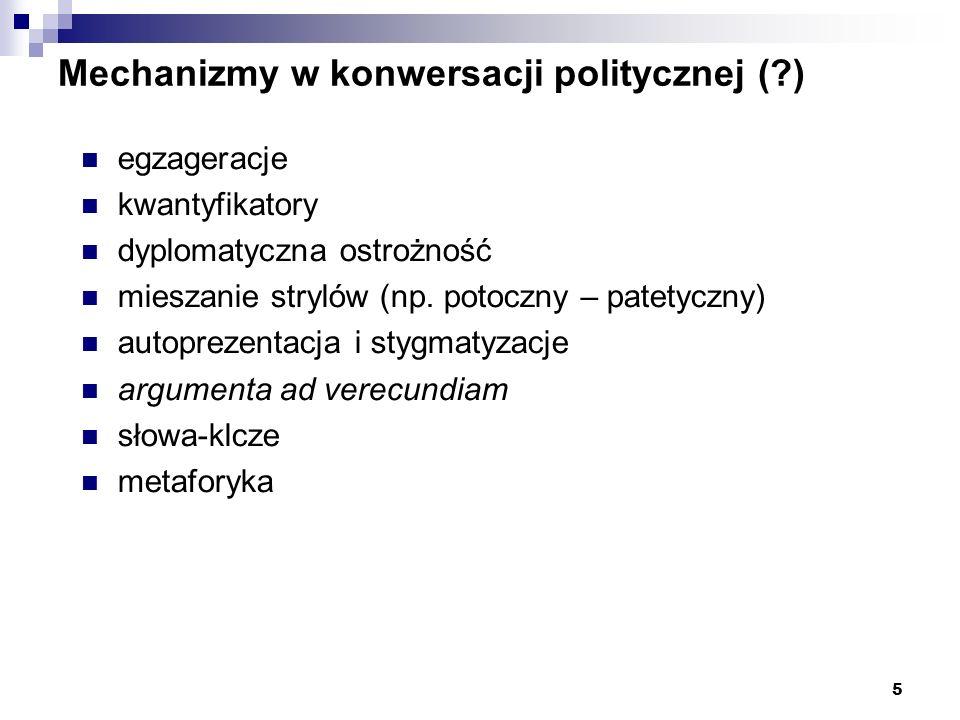 5 Mechanizmy w konwersacji politycznej (?) egzageracje kwantyfikatory dyplomatyczna ostrożność mieszanie strylów (np. potoczny – patetyczny) autopreze
