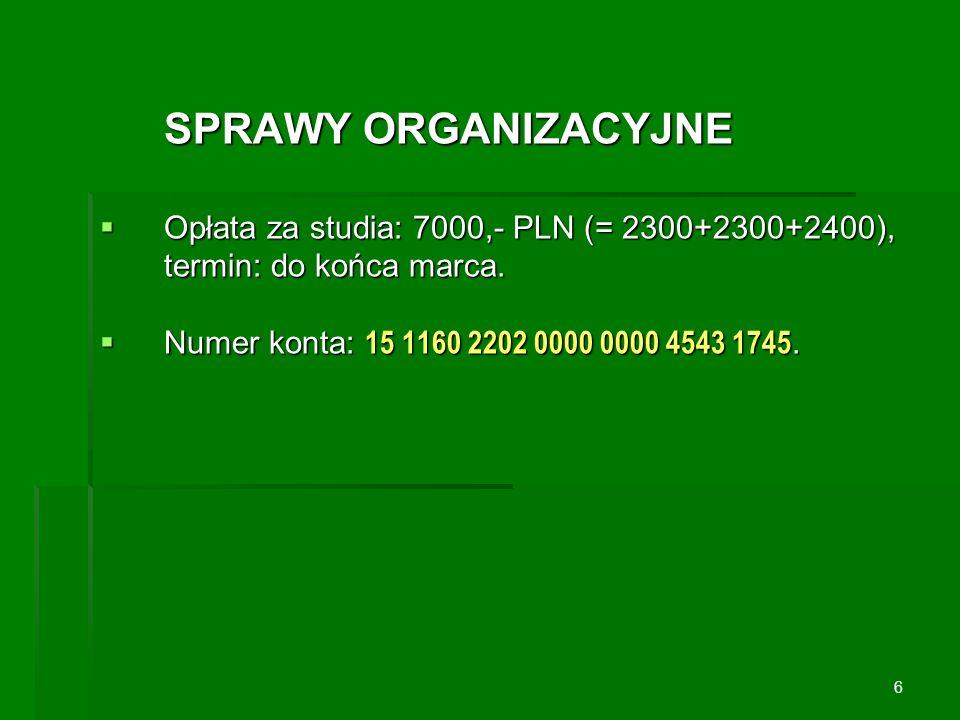 SPRAWY ORGANIZACYJNE Opłata za studia: 7000,- PLN (= 2300+2300+2400), termin: do końca marca. Opłata za studia: 7000,- PLN (= 2300+2300+2400), termin: