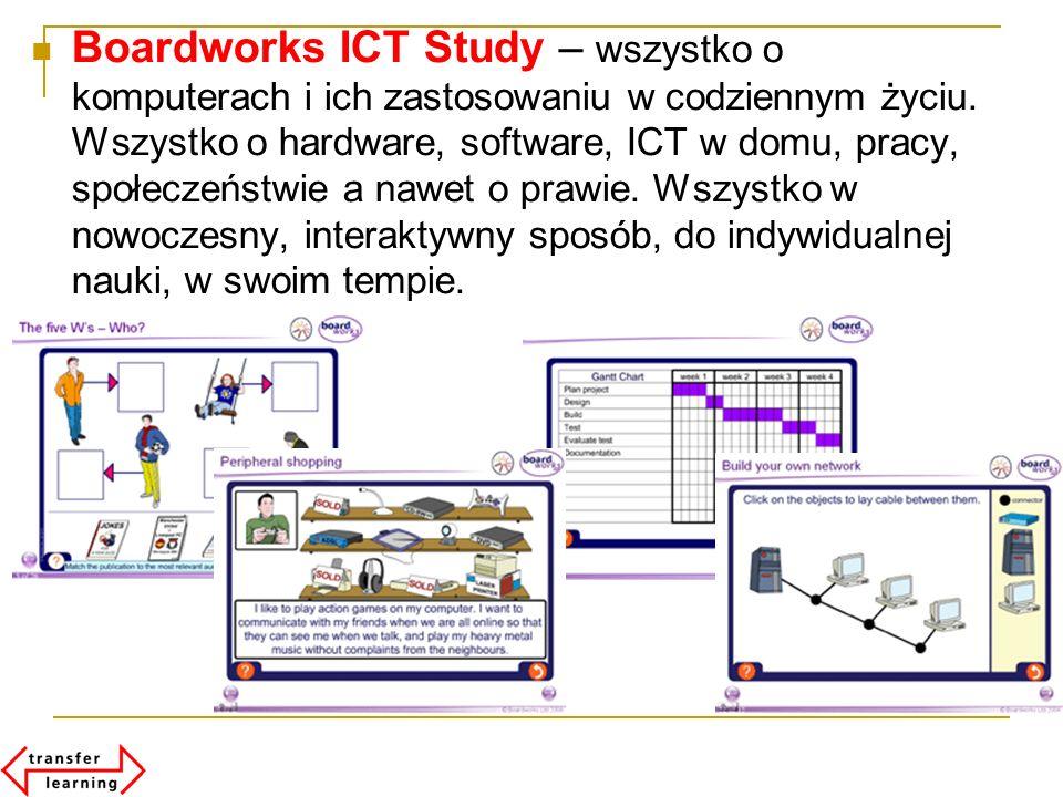 Boardworks ICT Study – wszystko o komputerach i ich zastosowaniu w codziennym życiu. Wszystko o hardware, software, ICT w domu, pracy, społeczeństwie