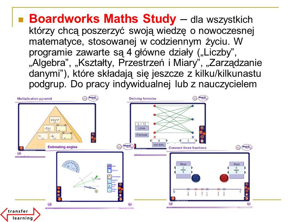 Boardworks Maths Study – dla wszystkich którzy chcą poszerzyć swoją wiedzę o nowoczesnej matematyce, stosowanej w codziennym życiu. W programie zawart
