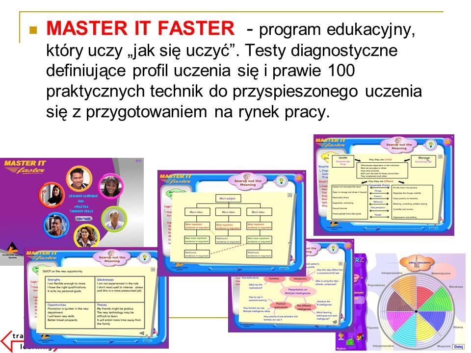 MASTER IT FASTER - program edukacyjny, który uczy jak się uczyć. Testy diagnostyczne definiujące profil uczenia się i prawie 100 praktycznych technik