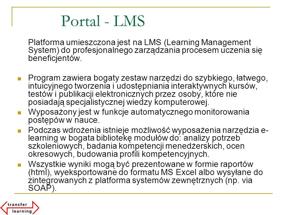 Portal - LMS Platforma umieszczona jest na LMS (Learning Management System) do profesjonalnego zarządzania procesem uczenia się beneficjentów. Program