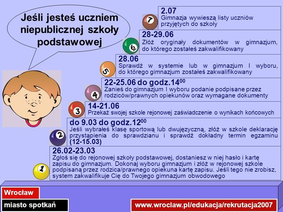 www.wroclaw.pl/edukacja/rekrutacja2007 Wrocław miasto spotkań Jeśli jesteś uczniem niepublicznej szkoły podstawowej 26.02-23.03 Zgłoś się do rejonowej szkoły podstawowej, dostaniesz w niej hasło i kartę zapisu do gimnazjum.