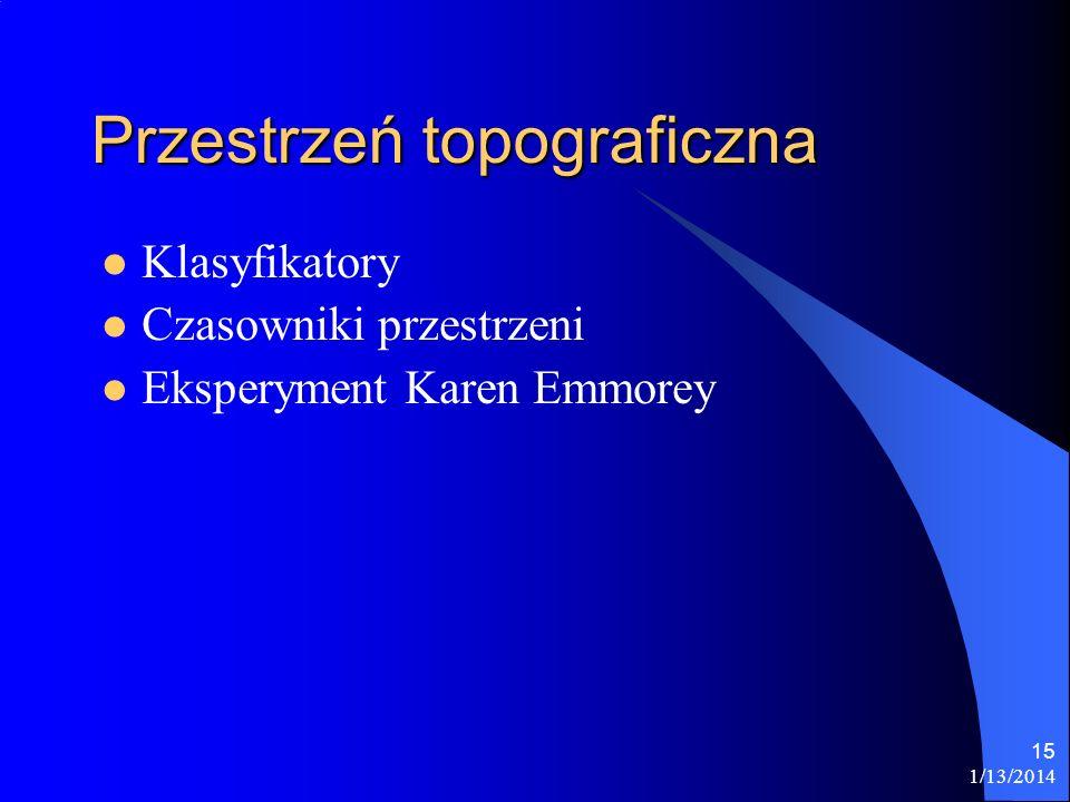 1/13/2014 15 Przestrzeń topograficzna Klasyfikatory Czasowniki przestrzeni Eksperyment Karen Emmorey