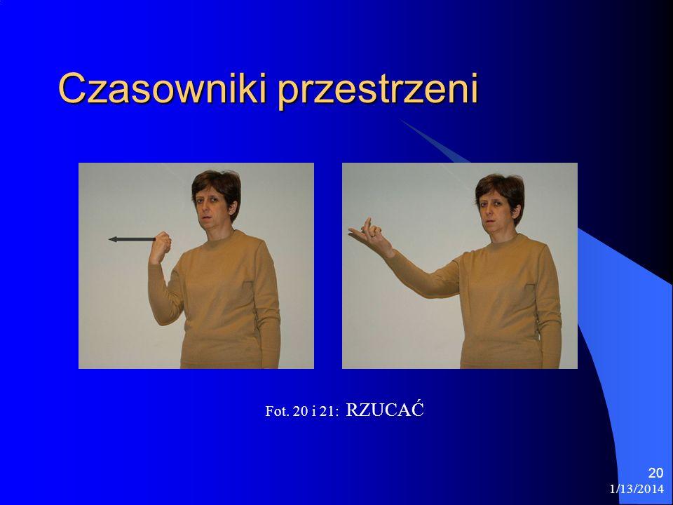 1/13/2014 20 Czasowniki przestrzeni Fot. 20 i 21: RZUCAĆ