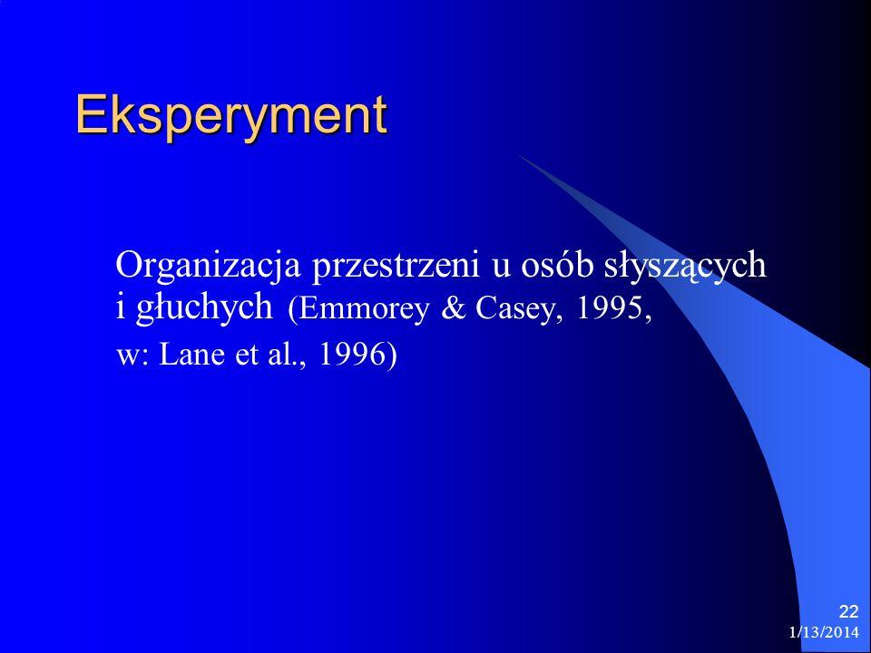 1/13/2014 22 Eksperyment Organizacja przestrzeni u osób słyszących i głuchych (Emmorey & Casey, 1995, w: Lane et al., 1996)