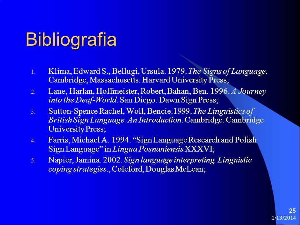 1/13/2014 25 Bibliografia 1.Klima, Edward S., Bellugi, Ursula.