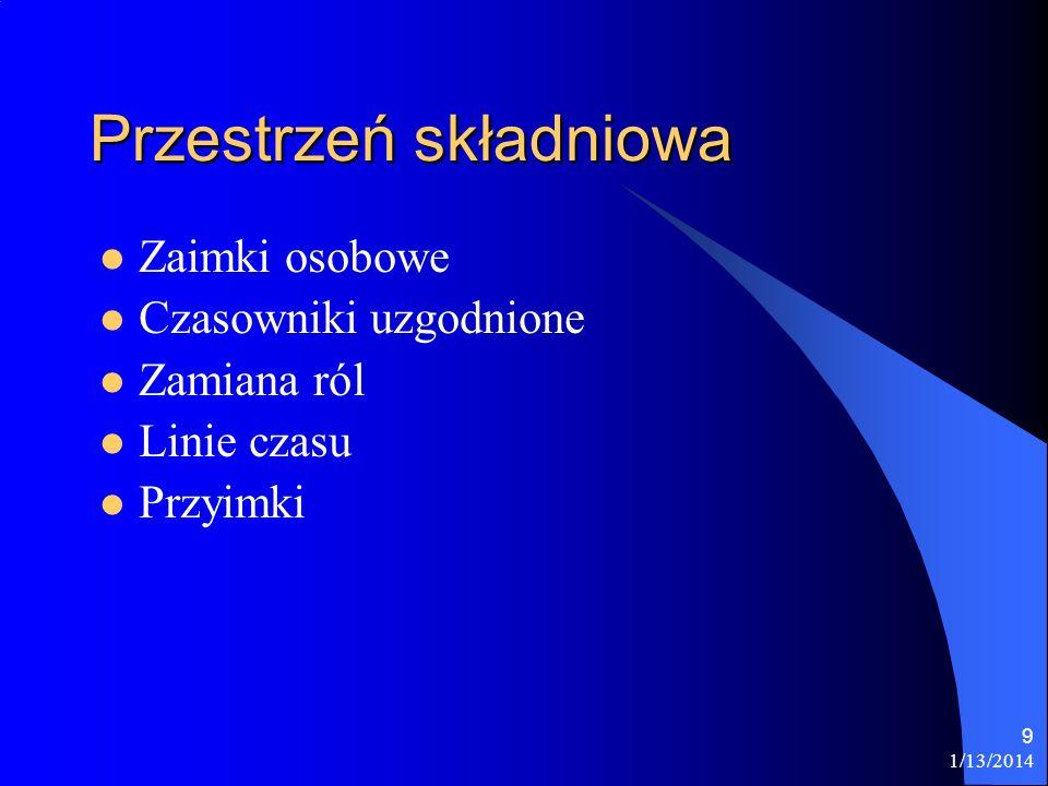 1/13/2014 9 Przestrzeń składniowa Zaimki osobowe Czasowniki uzgodnione Zamiana ról Linie czasu Przyimki